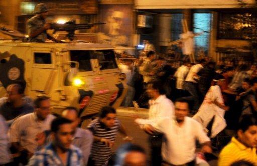 Egypte : une manifestation de Coptes  qui protestaient contre l'incendie d'une église  dégénère à Maspero, dans le centre du Caire .  .