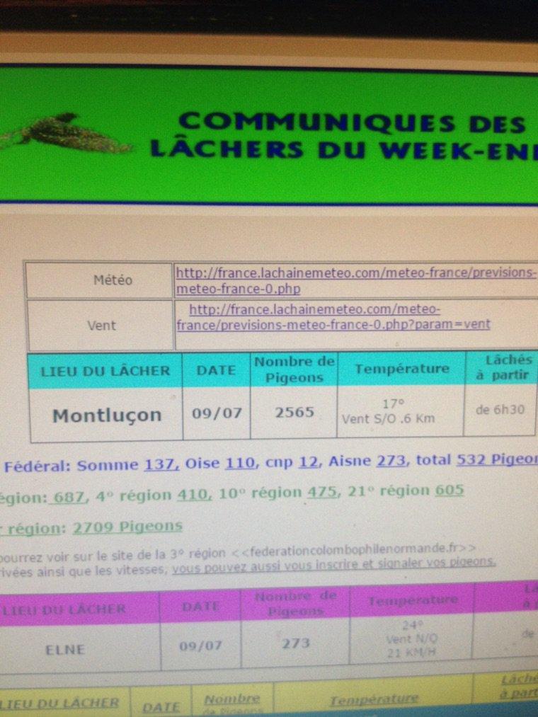 Montluçon le week-end dernier  ss groupement de l'Aisne 2565 pigeons et 14 iem places super
