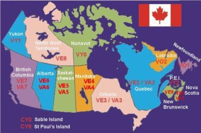LISTE DXCC DES PROVINCES ET TERRITOIRES DU CANADA