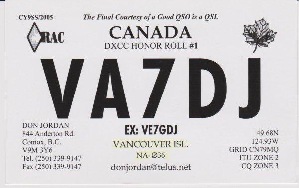 VA7 - VE7----COLOMBIE BRITANNIQUE