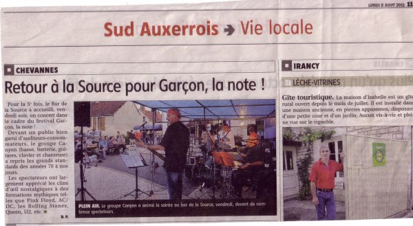 Festival Garçon la note à Chevannes le 05/08/2011