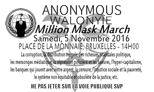 Million Mask March Brussels 2016