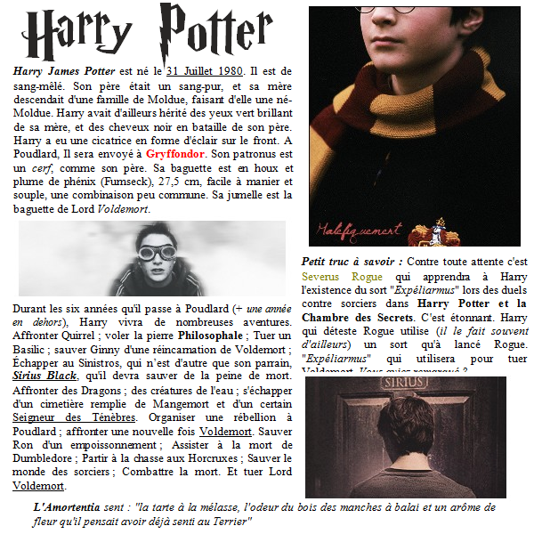 Categorie : Personnages  Article: Harry James Potter.