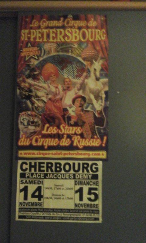 affiche du cirque st Pétersbourg lors de son passage a cherbourg