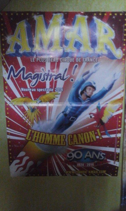 affiche programme cirque amar lors de sa venues à cherbourg