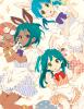 trois lapine aux  cheveux bleu