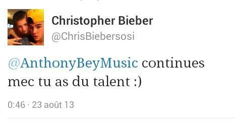 Chris bieber qui le tweet!!!!