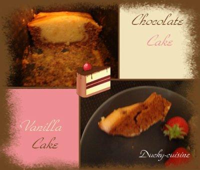 Cake marbré chocolat et vanille