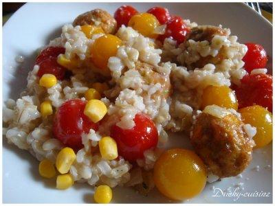 Riz et boulettes végétariennes