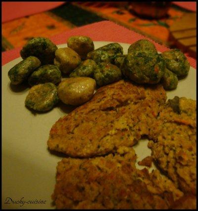 Galettes de flocons d'avoine à la ratatouille et petites boulettes tofu épinards