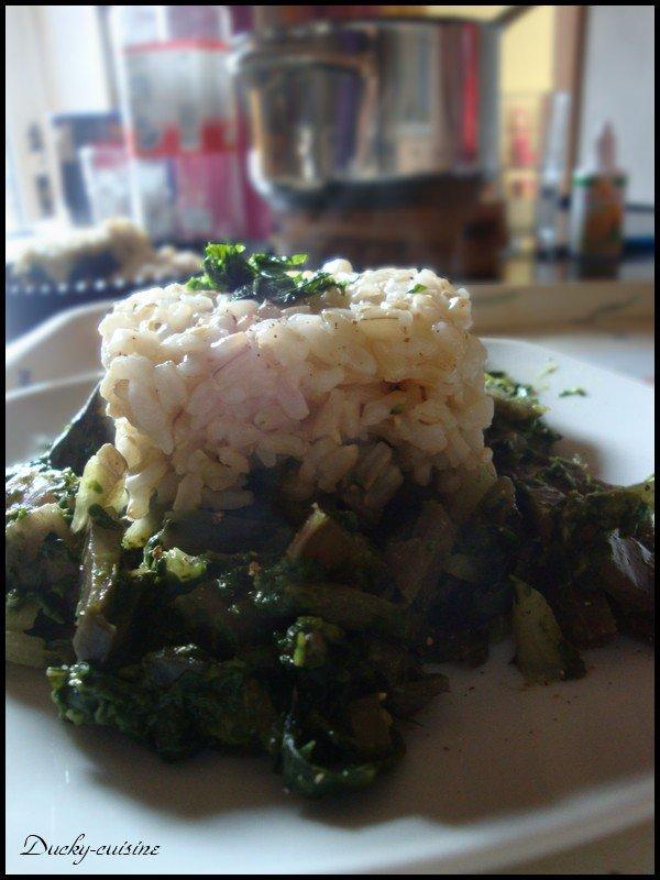 Risotto aux bettes, épinards et hachis de tofu épicé