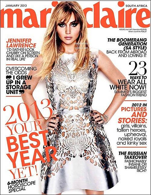 • 04/01/2013 Jennifer fait la couverture du magazine Marie-Claire d'Afrique du Sud en Janvier•