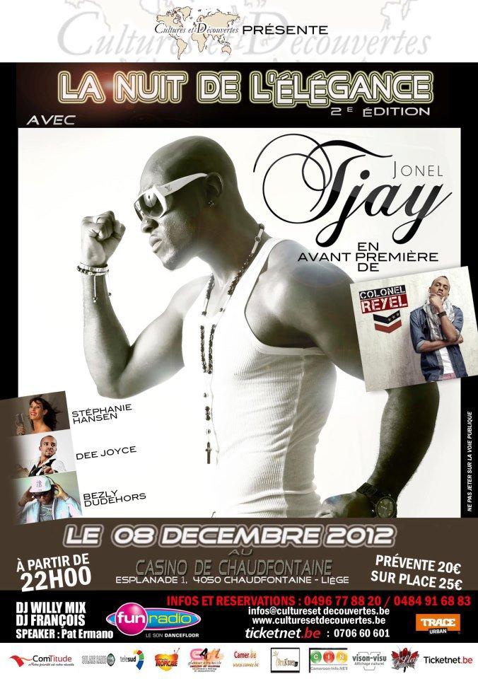 """Jonel Tjay sera présent le 08 Décembre 2012 lors de """"La nuit de l'élégance"""" au Casino de Chaudfontaine - Liège en Belgique"""