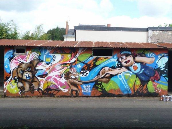 Peinture avec Mr Bus sur Corné