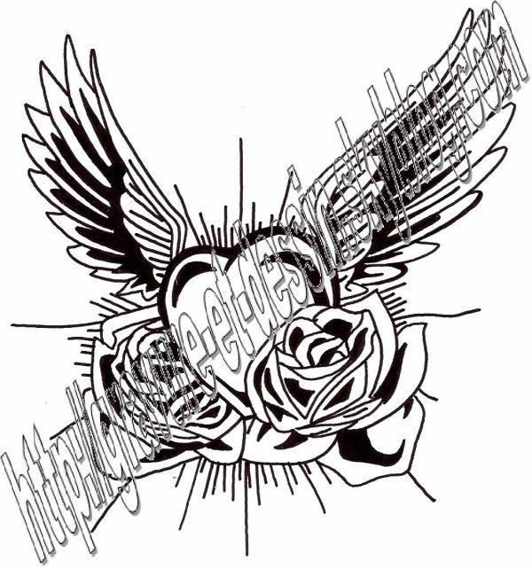 Gravure coeur et aile 01 blog de gravure et dessin - Coloriage avec des coeurs ...