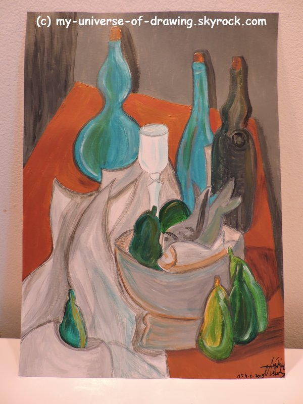 Poissons et Bouteilles, d'après Picasso