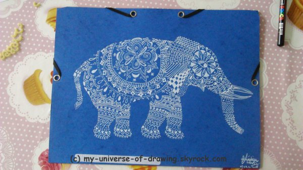 Eléphants Zentangle