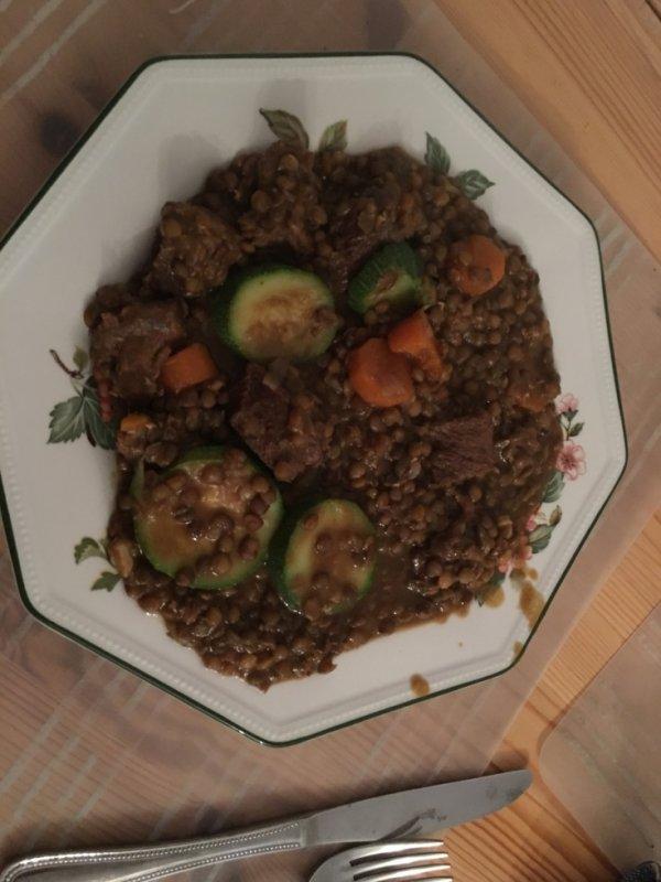 Lentilles, courgettes et boeuf bourguignon