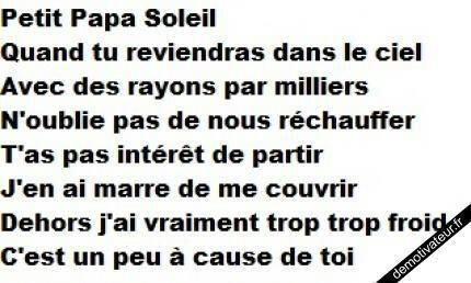 Petit Papa Soleil...