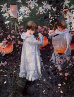SARGENT   :  OEILLETS,  LYS , ROSES  ( 1885 ) , TATE GALLERY.