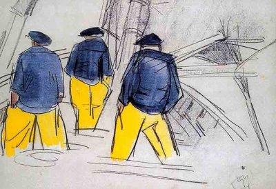 MATHURIN  MEHEUT   ( 1882-1958 )   :   MARINE  /   LA  VIE  A  BORD.