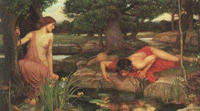 John William Waterhouse  LE  SAINT  DU  JOUR   :   NARCISSE    /   LE  MYTHE  :   ECHO  ET  NARCISSE  (1903)