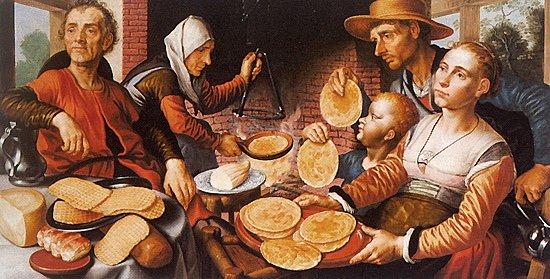 """Dicton du jour :  """"  A la chandeleur , l 'hiver meurt ou reprend vigueur  """"  , Pieter Aertsen , peintre hollandais (1508-1575)  :  les crèpes (1562)"""