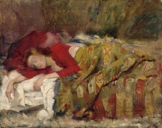 Lovis Corinth  ,   peintre allemand   ( 1858-1925 )   :  jeune femme endormie