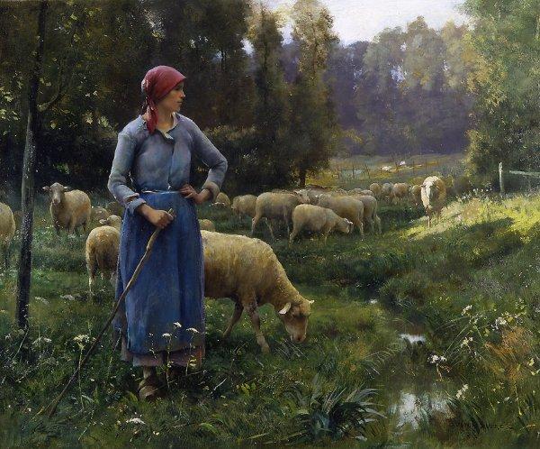 L ' heure d' aller compter les moutons...  Julien Dupré (1851-1910 )   :   la fermière