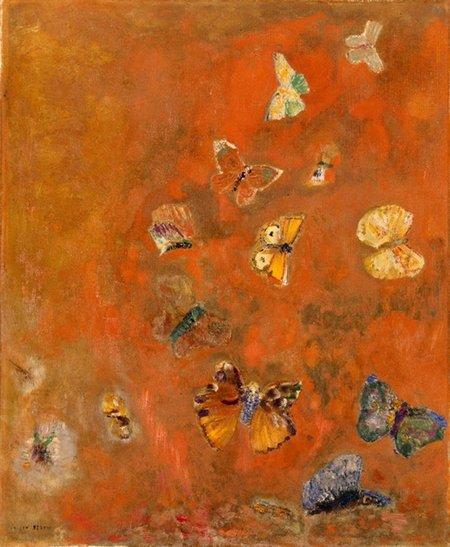 Odilon Redon     :   évocation de papillons   ( ca  1912 )