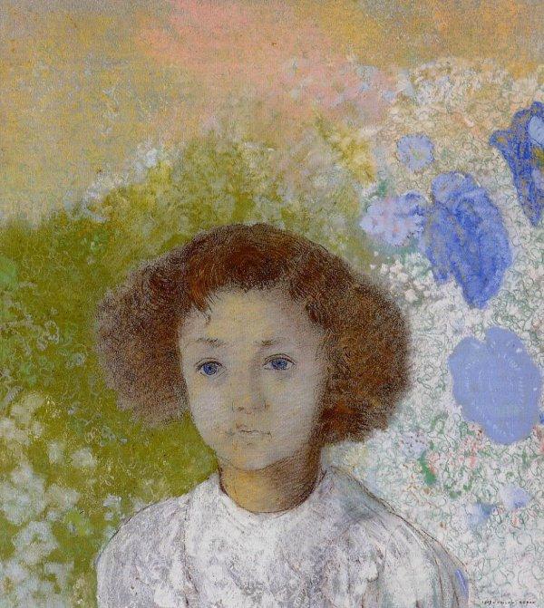 Odilon Redon  :  portrait de Geneviève de Gonet à l 'âge de trois ans  (1906)