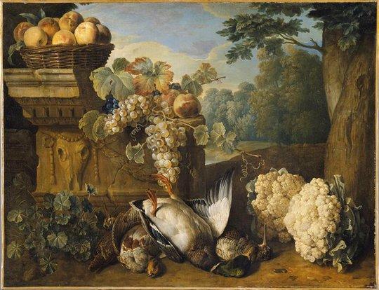... puis au marché  ,  François Desportes (1661-1743)   :  gibiers, fruits et choux-fleurs.