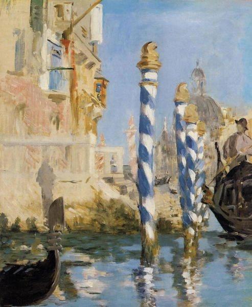 EDOUARD  MANET  ( 1832-1883 )   :  2  tableaux  représentant le grand Canal de Venise , datant de 1875  ( bientôt , le carnaval ...du 26 février au 8 mars 2011 )