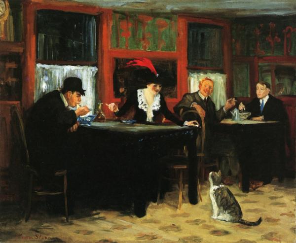 Le chat....un sujet inépuisable  , John Sloan , peintre américain (1871-1951)  :  Chinese restaurant (1909)