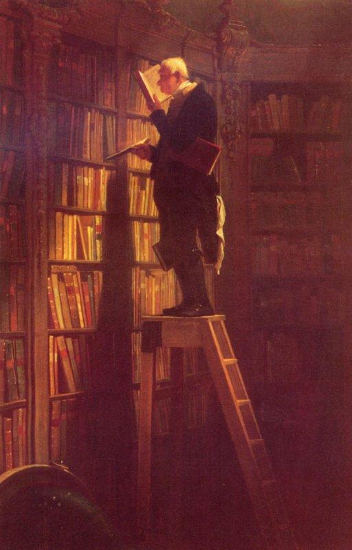 Carl Spitzweg  ,  poète et peintre allemand romantique  (1808-1885)  : le rat de bibliothèque.