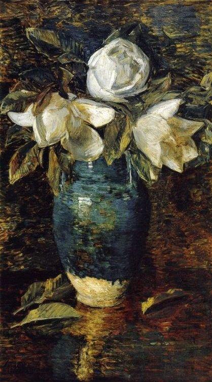 Frederick Childe Hassam  , impressionniste américain (1859-1935)    :  magnolias géants.