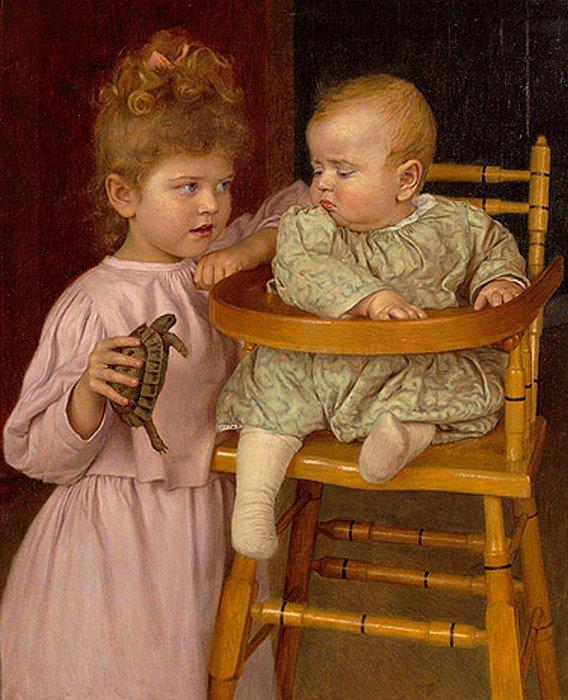 Scènes enfantines... Thomas Richard Von Dreger  ,  peintre allemand  (1868-1948)