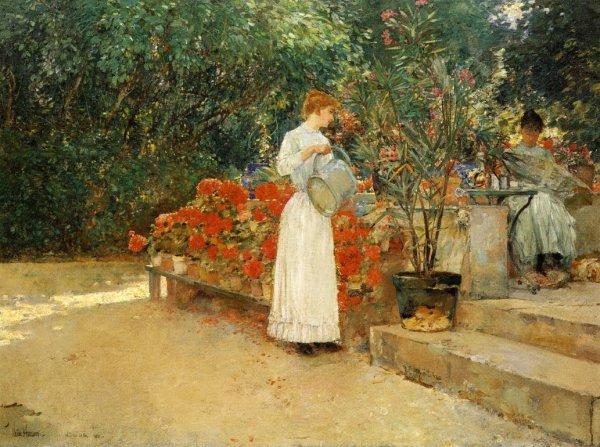 Frederick Childe Hassam  , impressionniste américain (1859-1935)    :   après le petit-déjeûner.
