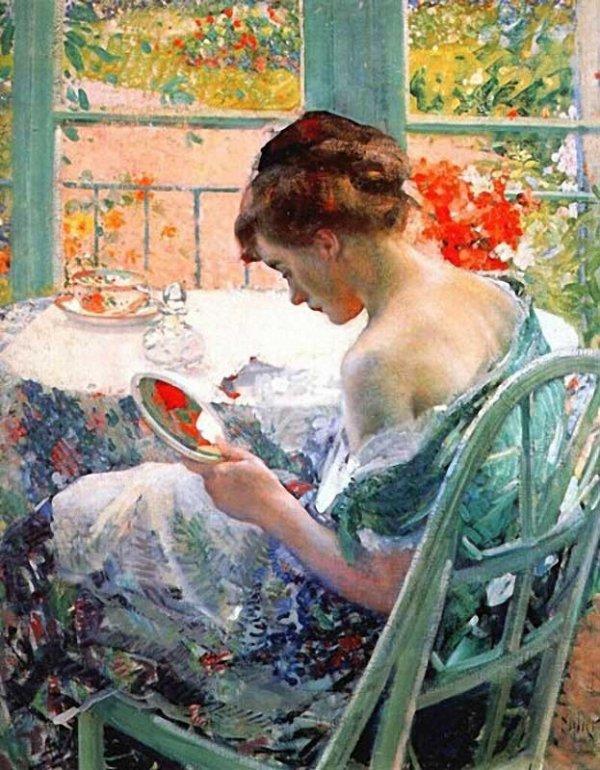 Richard Emil Miller ,  impressionniste américain  ( groupe de Giverny )  ,  (1875-1943)   :  la toilette  (ca 1914)