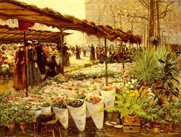 Theodor Von Hoerman ,  Autriche (1840-1895)    :   marché aux fleurs à la Madeleine