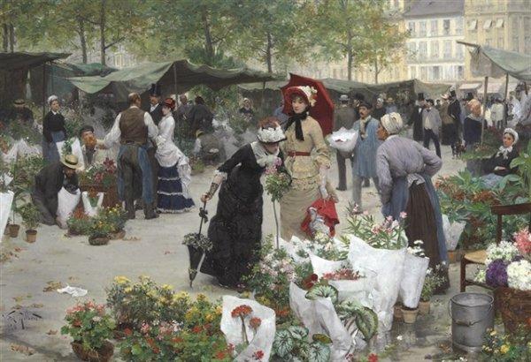 Victor Gabriel Gilbert  (1847-1933)    :  le marché aux fleurs.