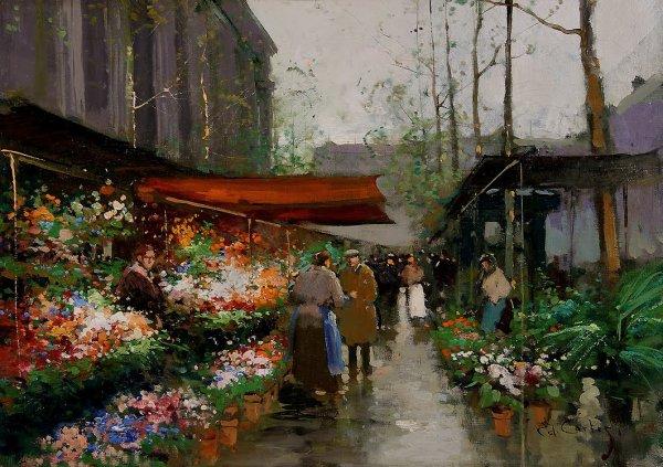 """Edouard Léon Cortes  ,  """" le poète parisien de la peinture """"   (1882-1969)  : marché aux fleurs Place de la Madeleine"""