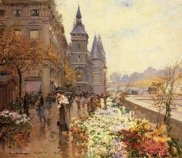 Georges Stein , spécialiste des vues de Paris (1818-1890)  :  le marché aux fleurs devant la Conciergerie.