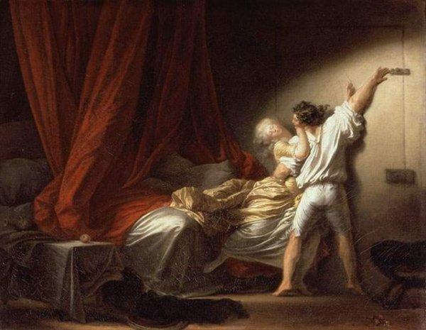 """Ce soir au Café du Commerce :  café-philo  """" le désir peut-il se satisfaire de la réalité  ? """" ( association """" les Petits Socratiques de Picardie """" )   /   Jean-Honoré Fragonard  (1732-1806)  :  le verrou (1778)"""