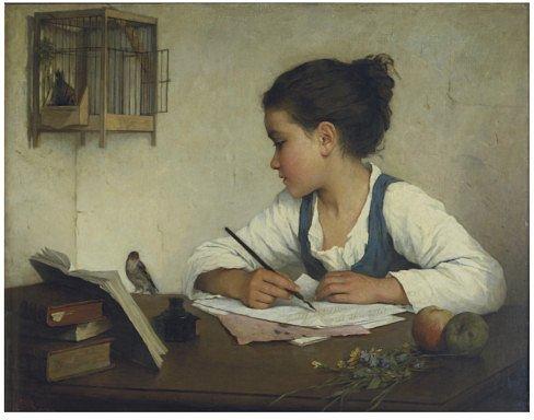 Henriette Browne , peintre française ,  comme son nom ne l ' indique pas...(1829-1901)  :  fillette écrivant ( ca 1860)
