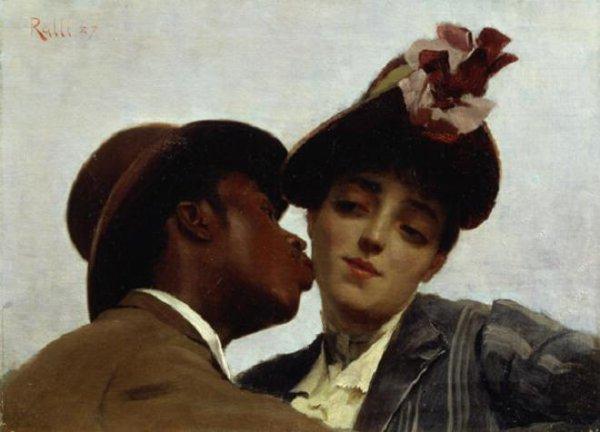 Théodore Jacques Ralli  ,  peintre grec (1852-1909)    :   le baiser (1887)