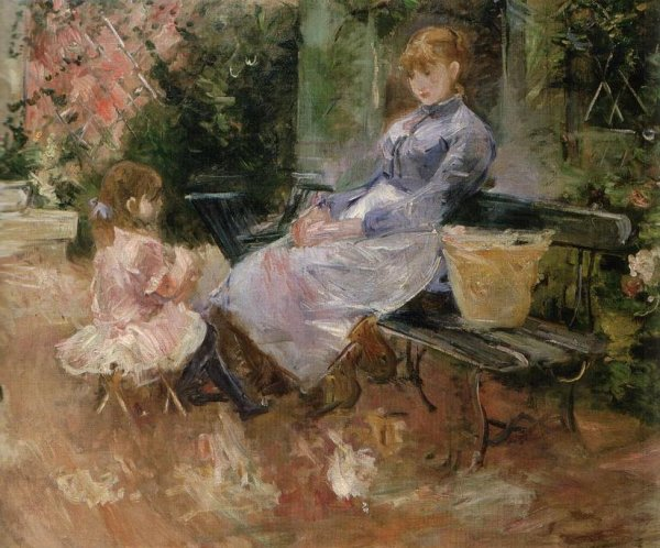 """Blagounette ferroviaire d 'Alphonse Allais sur tableau de Berthe Morisot  """"  la fable """" , Julie Manet et sa bonne Pasie, 1883."""