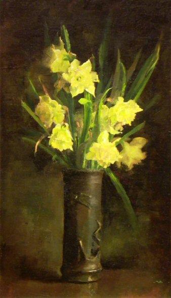Fleur de saison  :  Daffodils in Japanese Vase, circa 1886    /   John Leslie Breck  ,  impressionniste américain  (1860-1899)