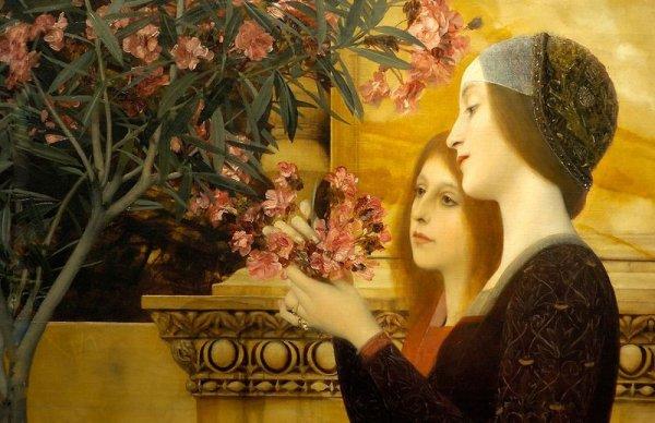 Gustav Klimt  (1862-1918)  :  two girls with an oleander.