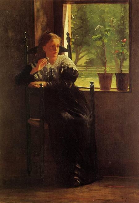 Homer Winslow ,  peintre américain (1836-1910)   :  at the window  (1872)